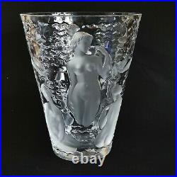 1 (One) LALIQUE ONDINES Frosted Lead Crystal Vase Signed ESTATE FIND