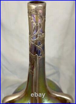 12 Signed Loetz Austria Candia Silberiris Vase Alvin Sterling Silver Overlay
