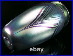1995 Pulled Feather Iridescent Blue Cobalt Art Glass Vase by Robert Eickholt