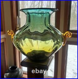 2004 Blenko 9726 Vase, Uncommon Desert Green/Topaz Color, 9 1/2 Tall