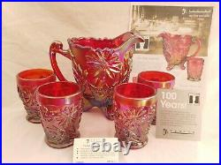 2004 Fenton RED CARNIVAL Founder's Water Set Pitcher & Tumbler 4 Glasses Flowers