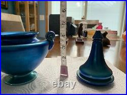 ANTIQUE SIGNED L. C. T. TIFFANY STUDIOS FAVRILE ART GLASS BLUE Dish With Lid