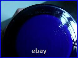 Alsterfors / Per Strom Blue Hooped Cased Glass Vase Signed