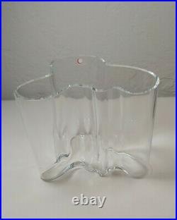 Alvar Aalto iitala Large Clear Glass Vase FINLAND Signed