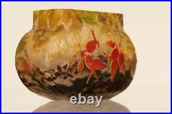Antique Art Glass signed Daum Nancy Art Nouveau Vase with rose-hip flowers