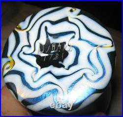 Antique Durand Nj USA Blue Swirl King Tut Art Deco Flower Garden Glass Urn Vase