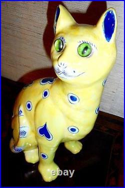 Antique Emile Galle' ceramic cat Signed