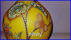 Antique Harrach Bud Vase Vibrant Citron Yellow Satin Glass Coralene Butterflies