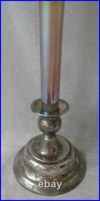 Antique Iridescent L. C. Tiffany Trumpet Vase Favrile Glass 12 Signed