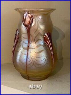 Antique RARE 1899 Loetz Austria Signed Phanomen Genre 1/4 Droplet Tadpole Vase