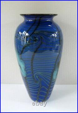 Beautiful Richard Satava Art Glass Blue Iris Vase 1996 Signed/Numbered 10 3/8