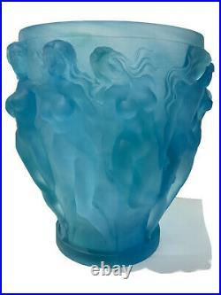 Blue Vintage Xl Bacchantes Style Crystal Vase H10W7 Heavy 9.8lb Signed France
