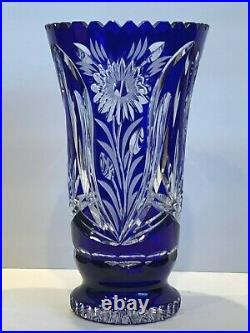 Bohemian Czech Imperlux Cobalt Cut to Clear Daisies Floral Vase