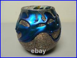 Charles Lotton Electric Blue LAVA Cypriot Cabinet Vase, Signed, c. 1987