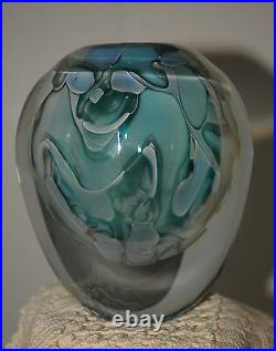 Chris Heilman 2004 Signed Vase Silver Glass, dreamy Grey Classic design