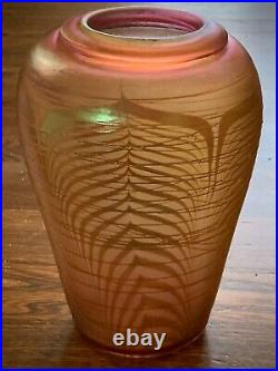Classic Correia Art Glass Vase Pink Iridescent Pulled Feather Motif Signed, 1981