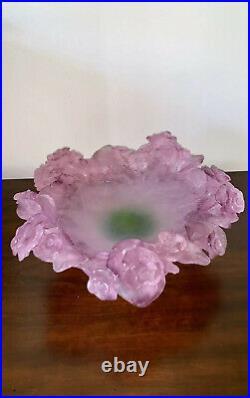 DAUM FRANCE Pate De Verre Glass Bowl LARGE & HEAVY 11 Lbs
