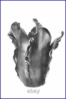 DAUM Tulip Black Large Vase Limited Edition Signed NIB