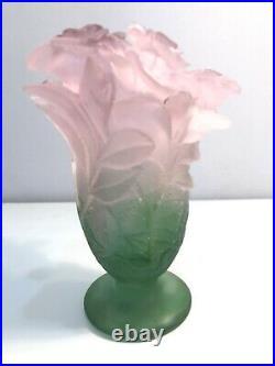Daum France 7 Crystal Pate De Verre Roses Vase Pink Green Flowers Mint