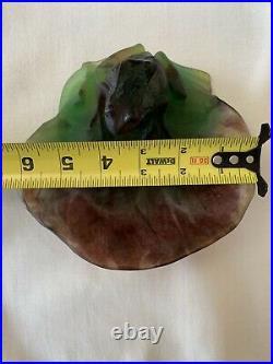 Daum France Pate de Verre Large Frog on Lily Pad SIgned