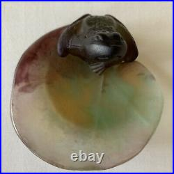 Daum France Pate de Verre Small Frog on Lily Pad SIGNED