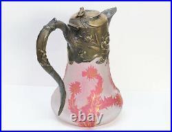 Daum Nancy Art Nouveau Cameo Glass Sterling Silver Claret Jug