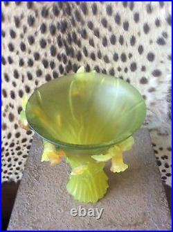 Daum Nancy France Yellow Daffodil Flower 9 5/8 Tall Crystal Vase Signed $4450