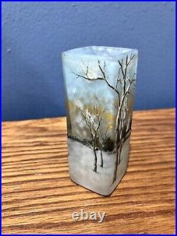 Daum Nancy Rare Blue Winterscene Vase Cameo Art Glass