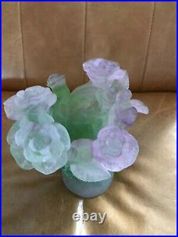 Daum Nancy Vase Green with Pink Roses Footed Signed By Artist