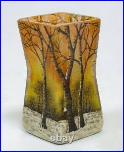 Daum Nancy glass vase snow winter landscape