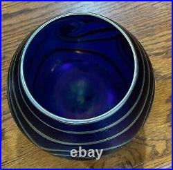 David Lotton Iridescent Pulled Feather Swirl Vase Signed & Dated 1993