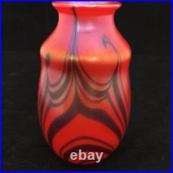 EARLY 1973 Signed Charles Lotton Mandarin Red Vase 5 3/8 Tall Pulled Feather