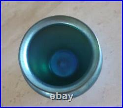 Early 20th C. Steuben Aurene Blue Iridescent Art Glass Vase Signed