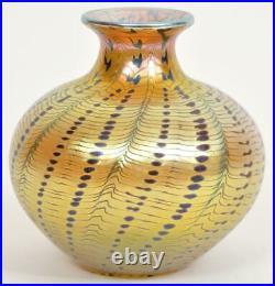 Early Lundberg Studio Iridescent Aurene Art Glass Vase Signed Dated 1977