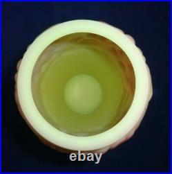 FENTON BURMESE PINK & YELLOW EMBOSSED FLOWER DESIGN 9 1/2 Vase Signed ARTIST