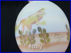 FENTON BURMESE VASE VEIL TALE Fish 2001 Connoisseur Collection Ltd Ed withLabel