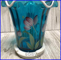 FENTON TEAL VASE AND BASE 2003 COLLECTOR'S ED. HEIRLOOM OPTIC SIGNED M. Kibbe