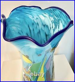 Fabulous Dutch Schulze Rare Gallery Hand Blown Art Glass Vase Signed 15H Signed