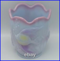 Fenton Art Glass Blue Burmese Atlantis Vase