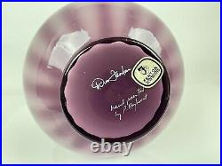 Fenton Art Glass Hand Painted Flowers on Purple Signed Ruffled 7 1/4 Vase