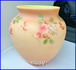 Fenton Art Glass Hand Painted Pink Burmese Vase New Old Stock
