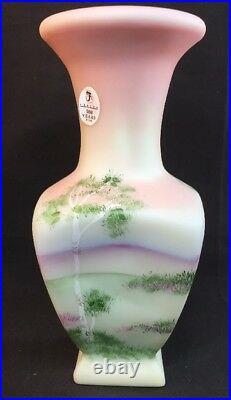 Fenton Art Glass Lotus Mist Burmese Log Cabin Vase Signed George Fenton LIMITED