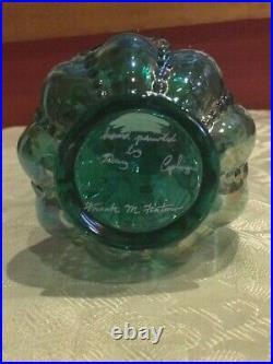 Fenton Art Glass green / blue iridescent Beaded Vase Flower Artist Signed 6