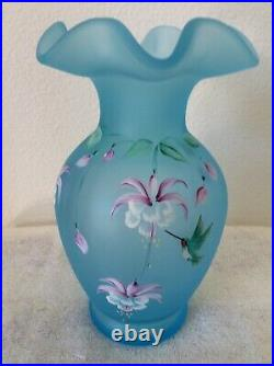 Fenton Blue Satin Glass Ruffle Vase Signed Hand painted Hummingbird and Orchids
