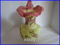 Fenton Burmese Tulip Pulpit Vase Painted by Marilyn Wagner