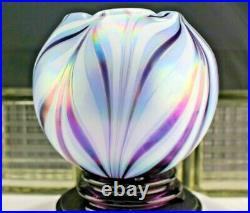 Fenton Glass 2010 Dave Fetty Lavender Haze Feather Vase Horizons Collection