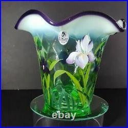 Fenton Glass Exclusive Diamond Optic Pattern with Hand painted Iris Flip Vase