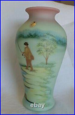 Fenton HP GS Signed Griffiths Limited 68/100 Lotus Mist Burmese Fisherman Vase
