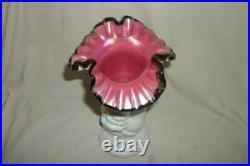Fenton Hand Holding Vase Iridescent Milk Glass Pink Ruffle Black Crest Marked