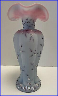 Fenton Lavender Satin Blue Burmese Ewer Pitcher Vase Handpainted D. Barleas